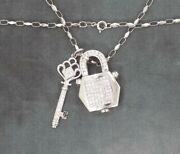 14k/10k Solid White Gold Diamond Lock And Key Necklace 20 20.6 Grams Appraisal