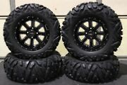 Grizzly 660 27 Quadking 14 St-4 Machined / Blk Atv Tire And Wheel Kit Irs1ca