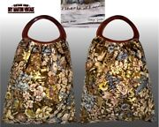 Vintage 60s Liberty Of London Bag Cottage Garden Fabric Hand Made Lucite Handles