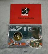 Barry Bonds Signed 715 Display Card And Commemorative Coin Rare Sold Out