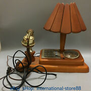 13.6 Collect China Copper Red Wood Old-fashioned Telephone Set Phone Call