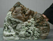 11.6 China Natural Dushan Jade Carving People House Pine Mountain Water Statue