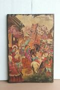 Old Vintage Paintings On Teak Wood Rare Antique Home Decor Collectible Bo-04