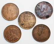 5 Coin Lot 1912-1916 Canada One Cent Cull Coins 1c Canadian Pennies Damaged