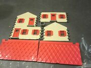 Plasticville Custom Paint Set Lot 2 Cape Cod Houses Red And Green Roof