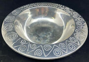 Rimmed Wilton Armetale Salad Serving Bowl Reggae 10 1/2 Pewter Abstract Geo