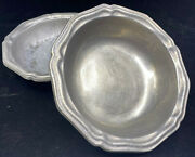 2 Rimmed Soup Bowls Wilton Armetale Queen Anne Pewter Columbia Holloware Cereal