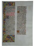 Medieval Illuminated Manuscript Leaf From A Book Of Hours Circa 1470