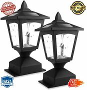Solar Post Lights Outdoor Lamp Cap Wood Fence Posts Pathway Deck Pack Black New