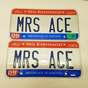 Authentic Used Ohio Vanity License Plates Mrs Ace Set Oh Bicentennial Design