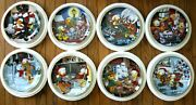 Garfield's 8 Plate Christmas Collection By The Danbury Mint .