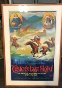 Antique Hollywood Movie Poster Vintage Western Custer And Sitting Bull