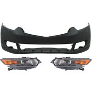 Set Of 3 Hid Headlights Lamps Front Hid/xenon Left-and-right For Acura Tsx 09-10