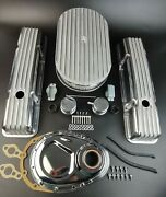 58-86 Sbc Aluminum Tall Retro Finned Valve Cover And Air Cleaner +timing Cover Kit