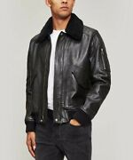 [new] Belstaff Arne Shearling And Hand Wax Leather Bomber Jacket, Us 34 / Eu 44