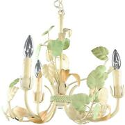 Vintage Chandelier French Leaves Peach Green Orange Metal Tole 3-light 3-a