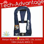 Adults Boat Blue Adjust Inflatable Manual Lifejacket Whistle Pfd Suits 40kg+