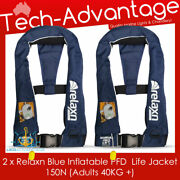 2 X Adult Boating Safety Blue Inflatable Manual Pfd Compact 150n Life Jackets