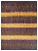 Hand Knotted Wool 5and039x8and039 Area Rug Contemporary Purple Gold Bbh Homes Bbl0a211