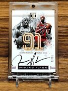 Dennis Rodman 2016-17 Impeccable Numbers 73/91 Lakers And Bulls Auto Crazy Card