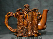 11 Mark Old Chinese Palace Ox Horn Carved Pine Tree Handle Wine Tea Pot Flagon