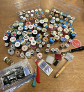 Vintage Lot Of 107 Spools Thread And Sewing Notions Belding Corticelli Gutermann