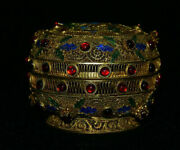 5 Old Chinese Royal Palace Copper Gold Wire Gem Hand-made Flower Jewelry Box