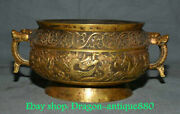 10.4 Marked Old China Red Copper Gold Dynasty Palace Dragon Horse Beast Censer