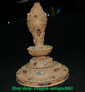 10.4 Old Tibet Silver Inlay Gems Turquoise Conch Shell Trumpet Horn Base