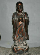 33.6 Rare Old Chinese Wood Gilt Carving Dynasty Arhat Lohan Buddha Sculpture