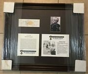Framed Vermont Civil War Hero Theodore Peck..signed Check Won Medal Of Honor