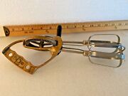 Vintage Hand Mixer Egg Beater Stainless Steel Brass Handle Copper Nice