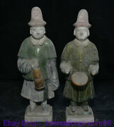 10.8 Old Chinese Ming Tang Sancai Pottery Civil Servants Musician Statue Pair