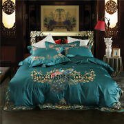 Luxury Egypt Cotton Peacock Bedding Set Embroidery Arc Edge Cover Queen King 4pc