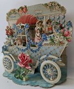 Victorian Antique Vintage Germany Diecut Foldout Car And House Valentines Card