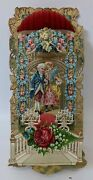 Victorian Antique Vintage Germany Diecut Fold-out Honeycomb Valentines Day Card