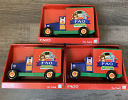 Lot Of 3 Fao Schwarz New York City Toy Store Marx Style Collector Toy Trucks