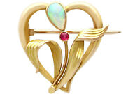 Antique Art Nouveau 0.30ct Opal And Ruby 15carat Yellow Gold Brooch