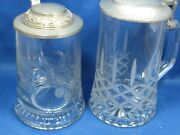 2 Antique Etched And Cut Germanand Italian Embossed Pewter Lid Glass Beer Stein Mugs