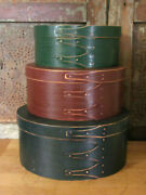 3 Primitive Vintage Wood Painted Round Stacking Nesting Shaker Boxes Brass Nails