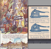 Antique Tobacco Cutter 1893 Enterprise Champion Knife Indian Queen Ad Trade Card