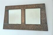 Arts And Crafts Rare Hammered Copper Double Bevelled Glass Wall Mirror