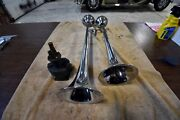 Vintage Grover Products Company Chrome Air Horns With Buell Air Pump