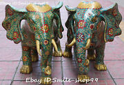 22 Chinese Cloisonne Enamel Gilt Lucky Elephant Elephants Animal Statue Pair