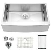 30x21 Inch Farmhouse Kitchen Sink Apron Front Stainless Steel Deep Single Bowl