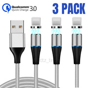 3pack Magnetic Fast Charging 3ft 6ft Usb Cable Charger 3a For Iphone 11 Xr 8 7 6
