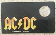 2018 Ac/dc 45 Years Of Thunder 50c Colour Printed Uncirculated Coin On Card