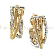 Diamond Hoop Earrings Solid 14k Two Tone Gold Crossover Motherand039s Gift 0.52 Ctw