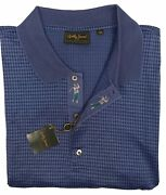 New Bobby Jones Collection Golf Shirt Xl Navy Purple Blue Houndstooth Italy