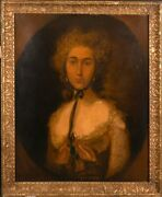 Fine Early 1800and039s Portrait Of A Lady - After Gainsborough - Large Oil Painting